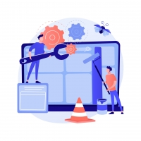 Website maintenance abstract concept vector illustration. Website service, webpage seo maintenance, web design, corporate site professional support, security analysis, update abstract metaphor.